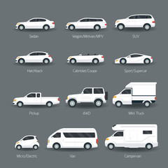 Car Type And Model Objects Icons Set White Body Color Automobile