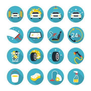 Car Wash Objects icons Set, Flat Design, Car Care, Automobile