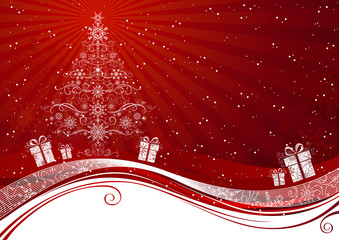 Red Christmas tree background.