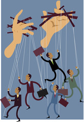 Businessmen or politicians  puppets dancing on string, giant hands control them, vector illustration, EPS 8