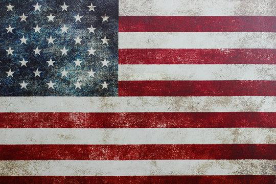 Vintage American flag on canvas