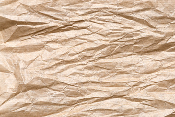 closeup of crumpled Kraft paper