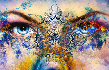 Blue women eye, color background with oriental mandala ornament