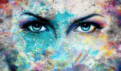 goddess women eye, with oriental mandala ornament eye contact