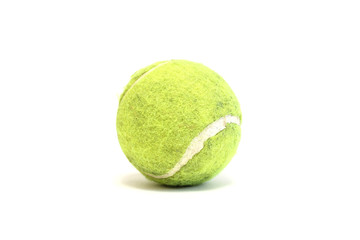 Bright tennis ball on white background