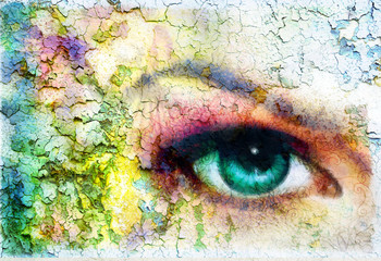 green women eye beaming, painting collage, violet makeup.