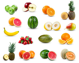set of fruit collection isolated on white background