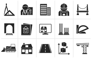 Black architecture and construction icons - vector icon set