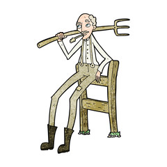 cartoon old farmer leaning on fence