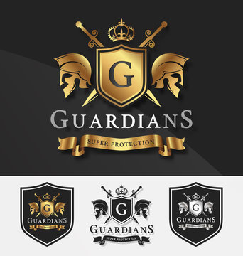 Shield and Two Guardians with cross knight crest logo template for Protection, Victory, Fighting, Safety concept. Vector illustration