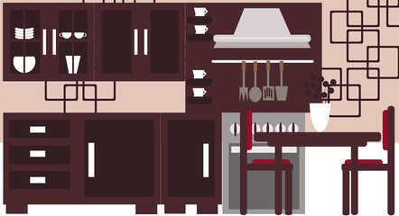 Vector illustration background of a modern kitchen interior.