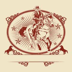 Illustration of cowboys riding horse