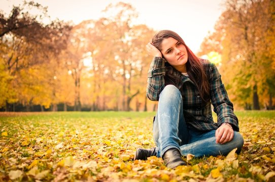 Woman in depression outdoor