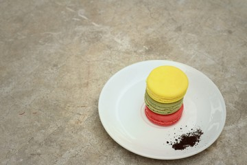 colourful of macaroon on a white plate.