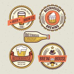 Beer logo design template for pub, bar or restaurant. Trendy bad