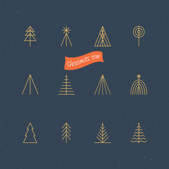 Christmas tree thin line icons for logo design . Vector illustra