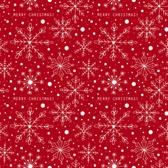 Christmas seamless pattern background with snowflakes. Hand draw