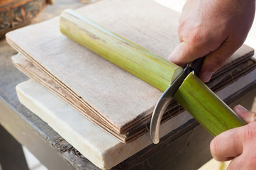 The working of Papyrus in Syracuse: artisan cutting a section of the stem to obtain thin strips