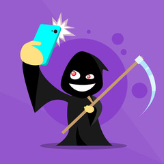 Halloween Selfie Photo Smart Phone Cartoon Grim Reaper Smile