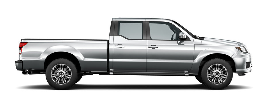Silver pickup truck - side view