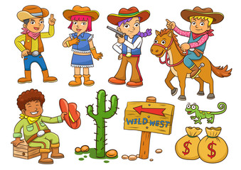 Illustration of cowboy Wild West child cartoon.