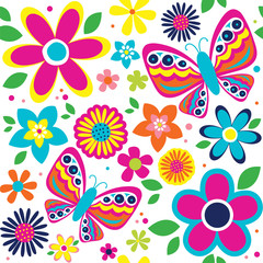 spring pattern with cute butterflies suitable for gift wrap or wallpaper background