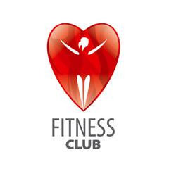 vector logo in red heart girl