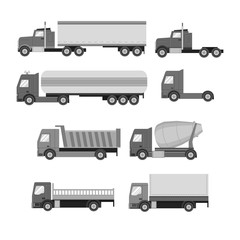 Vector set of trucks. Gray flat icons. Dump truck, tank, gasolin
