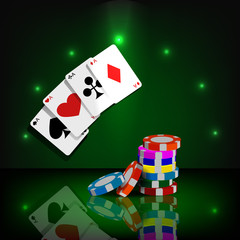 Casino chips and cards vector background eps 10