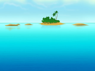 Lonely island with palm-trees in the sea. Digital background raster illustration.
