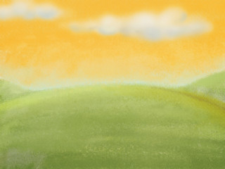 Pastel background, meadow with clouds on the yellow sky. Digital background raster illustration.