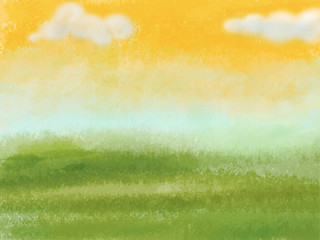 Green meadow with yellow sky and clouds. Digital background raster illustration.