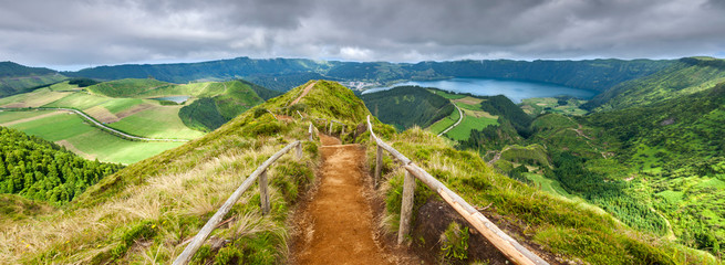 Walking path leading to a view on the lakes of Sete Cidades and Wall mural