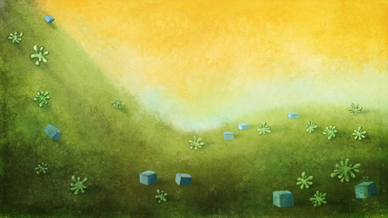 Yellow sky with green hill with cubes and plants. Digital background raster illustration.