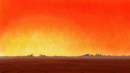 Sunrise in lonely drought cracked desert. Digital background raster illustration.
