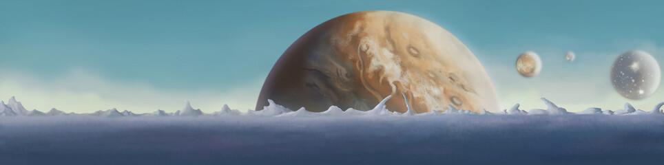 Galaxy. Planet surface close-up. Digital background raster illustration.