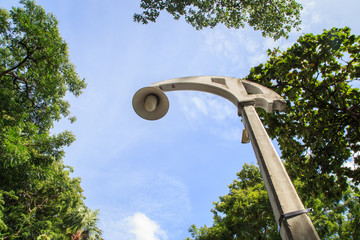 Street lamp and blue sky in the background