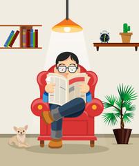 Man reading newspaper. Vector flat cartoon illustration