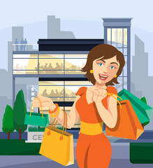 Shopping center vector flat illustration