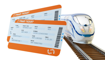 Railway tickets booking and railroad travel concept, train tickets and modern high speed passenger train on tracks isolated on white background