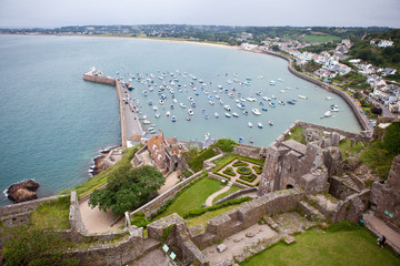 View of Gorey Harbour, Mont Orgueil Castle, Jersey Channel Islands