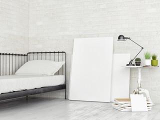 White Blank Canvas in Loft studio, retro bed,  3d render