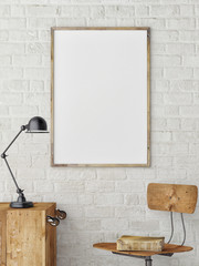 White Blank Poster in white brick wall ,Template Mock up for your content, 3d render