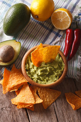 nachos, guacamole sauce and ingredients close-up. Vertical