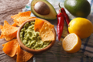 nachos, guacamole sauce and ingredients close-up. horizontal