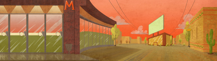 Supermarket and Office Buildings, Mexican Style. Digital background raster illustration.
