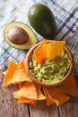 guacamole sauce, nachos and avocado closeup. vertical top view