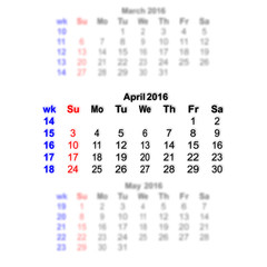 April 2016 Calendar week starts on Sunday