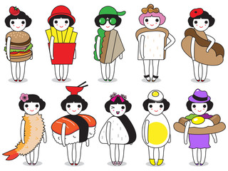 Fashion and Fast Foods character illustration set