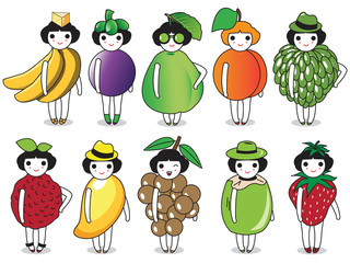 Fashion and Fruits character illustration set